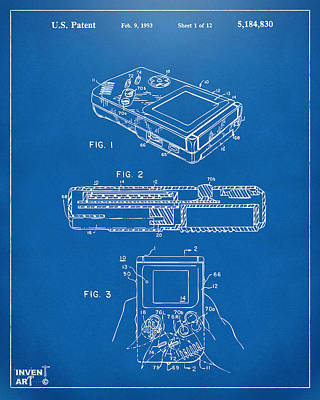 Electronics Drawing - 1993 Nintendo Game Boy Patent Artwork Blueprint by Nikki Marie Smith
