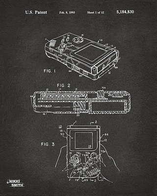 1993 Nintendo Game Boy Patent Artwork - Gray Print by Nikki Marie Smith