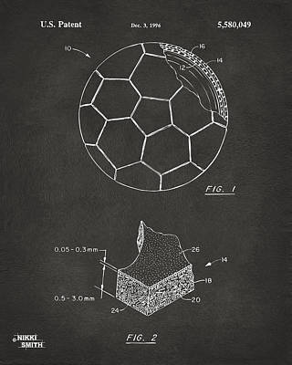 Sports Digital Art - 1996 Soccerball Patent Artwork - Gray by Nikki Marie Smith