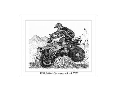 Dirt Roads Drawing - 1999 Polaris Off Road  by Jack Pumphrey