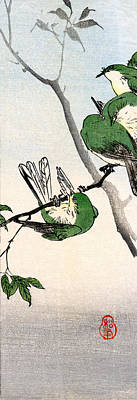 Sparrow Painting - 19th C. Green Japanese Sparrows by Historic Image