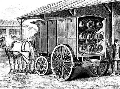 Horse And Cart Photograph - 19th Century Compressed Gas Tanks by Collection Abecasis