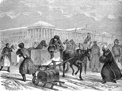 Horse And Cart Photograph - 19th Century Ice Transportation by Collection Abecasis