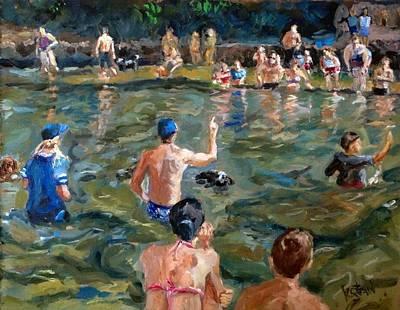 Barton Painting - 1st Aunnual Weenie Dog Swim Meet by Kellie Straw