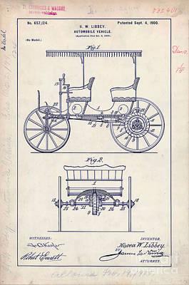 Car Drawing - 1900 Automobile Patent Drawing by Jon Neidert