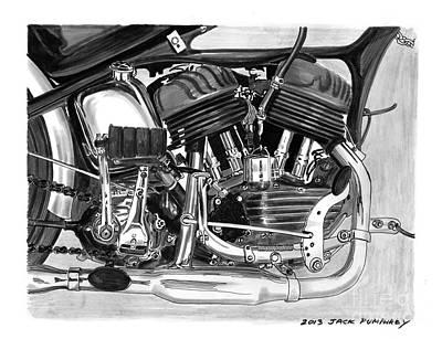 Wheel Drawing - 1948 Harley Davidson W L A by Jack Pumphrey