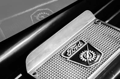 1949 Ford F-1 Pickup Truck Step Plate Emblem -0043bw Print by Jill Reger