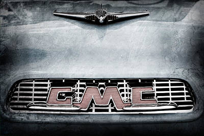 1956 Gmc 100 Deluxe Edition Pickup Truck Hood Ornament - Grille Emblem Print by Jill Reger
