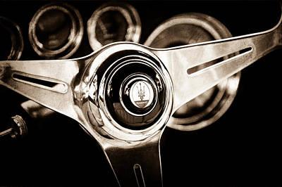 1958 Photograph - 1958 Maserati Steering Wheel Emblem by Jill Reger