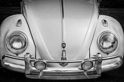 1960 Volkswagen Beetle Vw Bug   Bw Print by Rich Franco