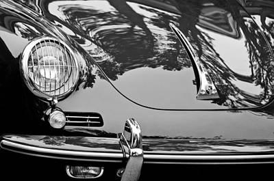 Bw Photograph - 1963 Porsche 356 B Cabriolet Hood Emblem by Jill Reger