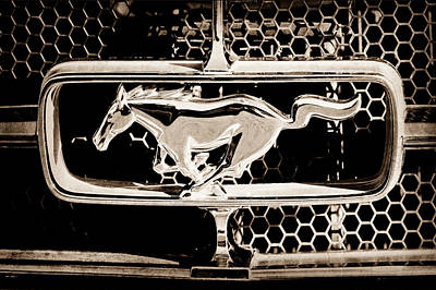 Car Photograph - 1965 Ford Shelby Mustang Grille Emblem by Jill Reger