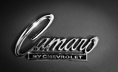 American Muscle Car Print featuring the photograph 1969 Chevrolet Camaro Emblem by Jill Reger