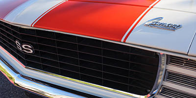 Indy Car Photograph - 96 Inch Panoramic -1969 Chevrolet Camaro Rs-ss Indy Pace Car Replica Grille - Hood Emblems by Jill Reger