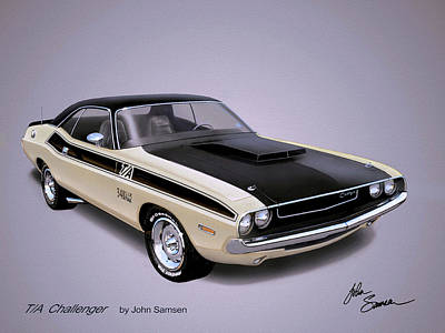1970 Challenger T-a  Dodge Muscle Car Sketch Rendering Print by John Samsen