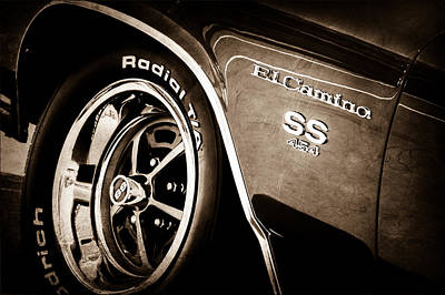 American Muscle Car Print featuring the photograph 1970 Chevrolet El Camino Ss 454 Ci Wheel - Side Emblem by Jill Reger