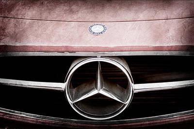 Mercedes Benz 300 Classic Car Photograph - 300 Mercedes-benz Sl Roadster Hood Emblem by Jill Reger