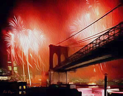 4th Of July By Brooklyn Bridge Original by Carlos Villegas