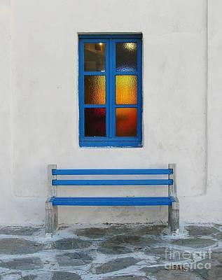 Window Bench Photograph - A Blue Bench by Mel Steinhauer
