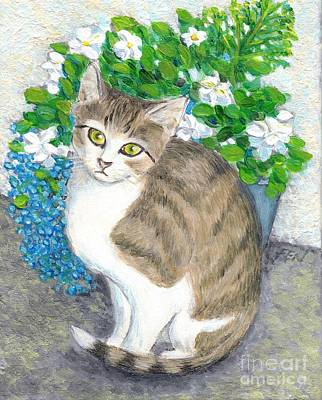 Kitten Painting - A Cat And Flowers by Jingfen Hwu