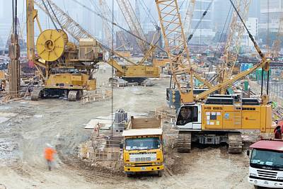 A Construction Site In Hong Kong Print by Ashley Cooper