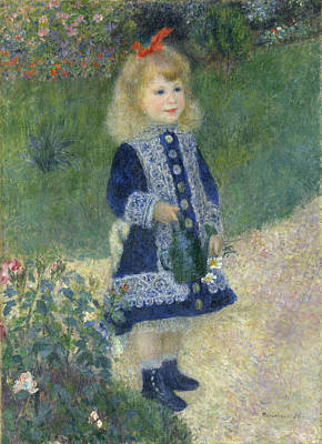 Pierre August Renoir Painting - A Girl With A Watering Can by Celestial Images
