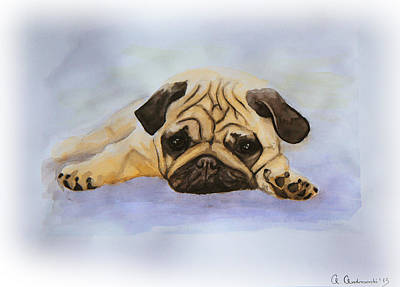 English Bulldog Drawing Painting - A Little Bulldog by Anna Androsovski