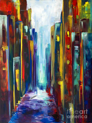 Outsider Art Painting - A Walk In The City by Elena Feliciano
