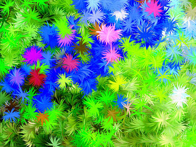 Color Painting - Abstract Colorful Wild Flowers by Bruce Nutting