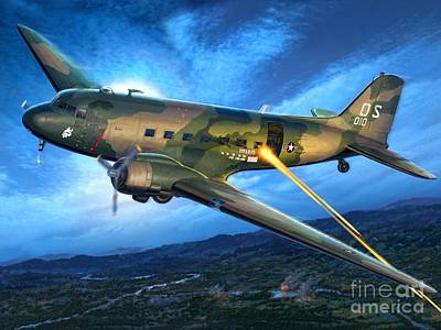 Vietnam Digital Art - Ac-47 Spooky by Stu Shepherd