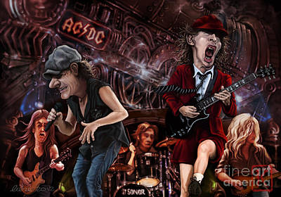 Rock N Roll Drawing - Ac/dc by Andre Koekemoer