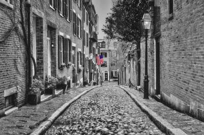 Streetlight Photograph - Acorn Street Boston Bw by Susan Candelario