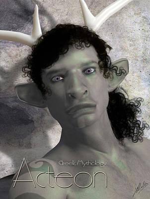 Goddess Digital Art Mixed Media - Actaeon Greek  by Quim Abella