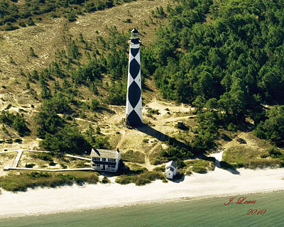 Aerial Of Cape Lookout Lighthouse Print by James Lewis