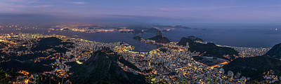 Christ The Redeemer Photograph - Aerial View Of City From Christ by Panoramic Images