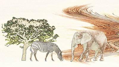 Elephant Mixed Media - Africa by Sharon Lisa Clarke