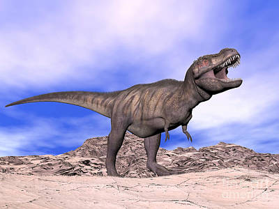 Anger Digital Art - Aggressive Tyrannosaurus Rex Dinosaur by Elena Duvernay