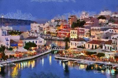 People Painting - Painting Of Agios Nikolaos City by George Atsametakis