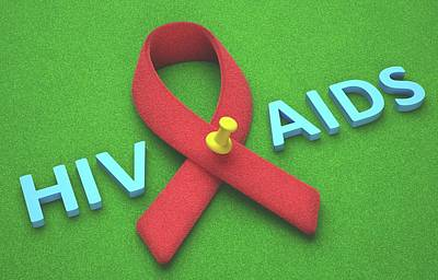 Aids Red Ribbon Print by Ktsdesign
