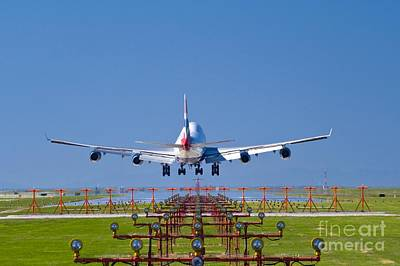 Passenger Plane Photograph - Airplane Landing, Canada by David Nunuk