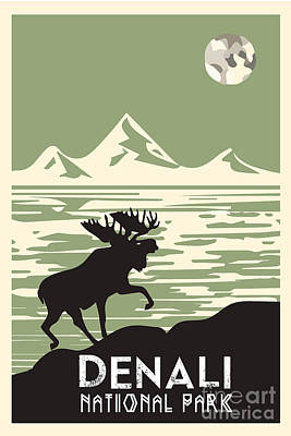 Moose Digital Art - Alaska Denali National Park Poster by Celestial Images