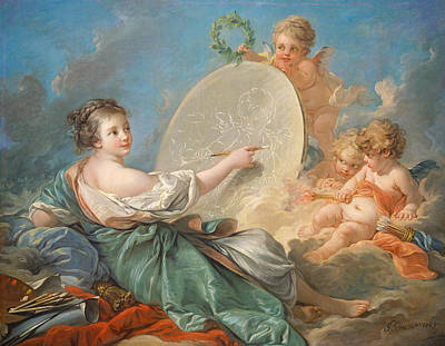 Heavenly Angels Painting - Allegory Of Painting by Francois Boucher