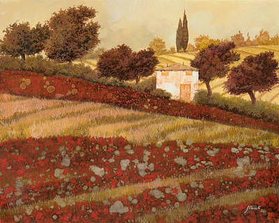 Farm House Painting - altri papaveri in Toscana by Guido Borelli
