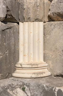 Anastylosis Of Temple Column At Letoon Print by David Parker