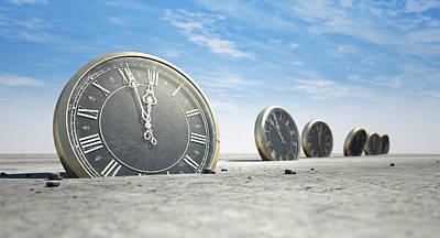 Waste Digital Art - Antique Clocks In Desert Sand by Allan Swart