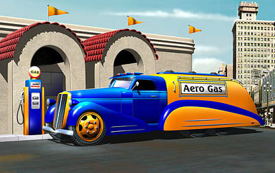 Old Trucks Digital Art - Art Deco Gas Truck by Stuart Swartz
