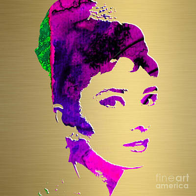 Icons Mixed Media - Audrey Hepburn Gold Series by Marvin Blaine