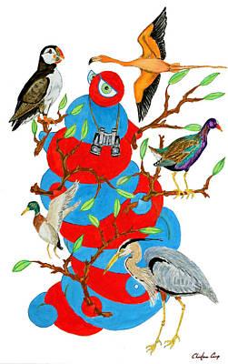 Greater Flamingos Painting - Audubon Grub by Christena Carp