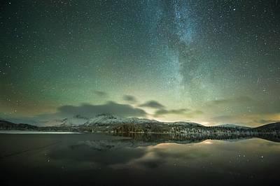 Aurora Borealis And Milky Way Print by Tommy Eliassen