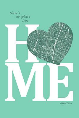 Austin Digital Art - Austin Street Map Home Heart - Austin Texas Road Map In A Heart by Jurq Studio